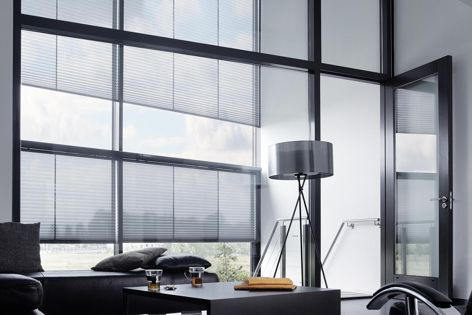 Verosol's Pleated Blind range offers a wide selection of fire-retardant fabrics available in four transparencies.