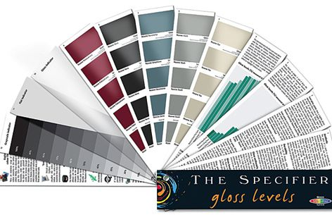 The Specifier – Gloss Levels fandeck by Resene demonstrates the effect of gloss on a colour choice.