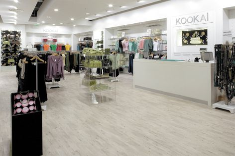 The stylish floor in this Kookai store is finished in hard-wearing ID Premier vinyl tiles.