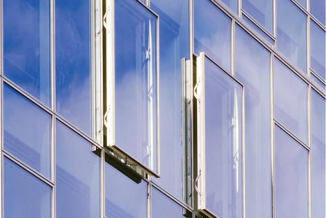 Schueco's insert window unit system can be integrated seamlessly without adversely affecting the uniform facade geometry.