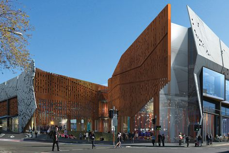 A render image of Wollongong Central's southern facade.
