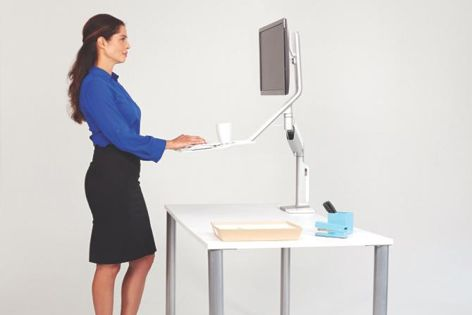 An ergonomic solution, the sit-stand design of QuickStand Lite encourages users to be active in the workplace.