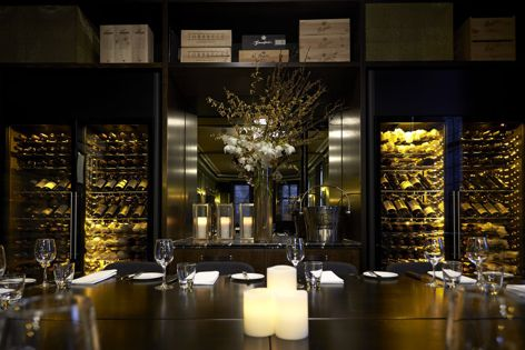This private dining room features EuroCave wine cabinets.