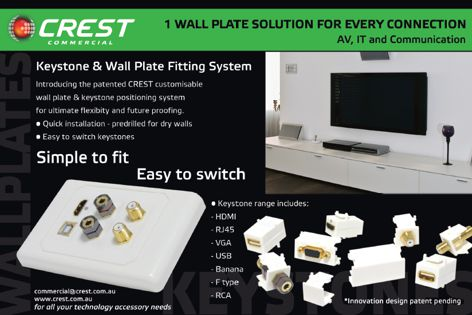 Crest wall plate and keystone system