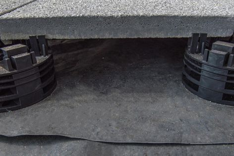 Pod systems combined with Adbri Masonry's Euro® pavers are an ideal solution where drainage is needed as they allow pavers to be supported over waterproof membranes.