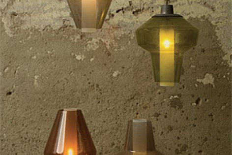 Available from Space Furniture, the Metal Glass lights recall an alchemist's still.