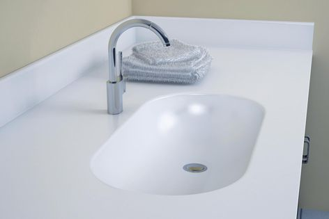 Ideal for use in hospitals, the new Corian baby bath is hygienic and easy to clean.