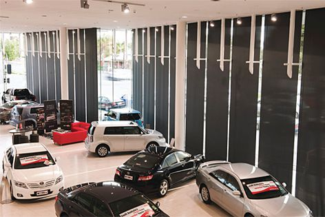 Adelaide's new CMI Toyota showroom is equipped with 180 Helioscreen blinds powered by Somfy.