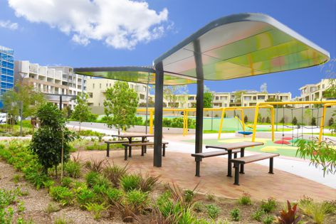 Stoddart Infrastructure delivered wing-like shelters inspired by butterflies for the communal recreational space at the One The Waterfront residential development in Wentworth Point, Sydney.