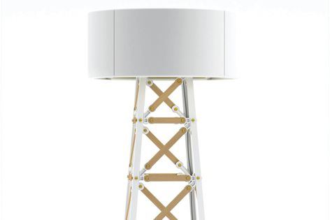 The Construction Lamp in a white wood finish.