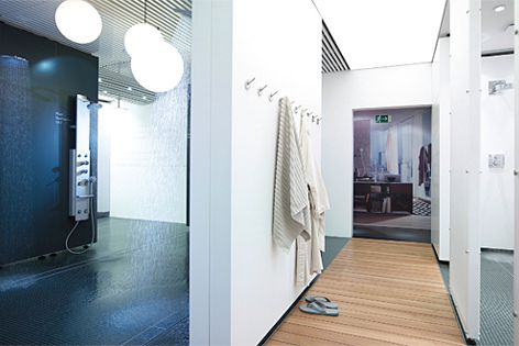 Hansgrohe's ShowerWorld enables visitors to experience 19 of the company's dynamic shower products.