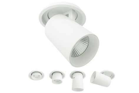 Mondoluce's Piega barrel spot can be converted into a downlight.