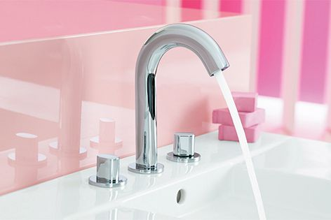 A tall spout and two separately mounted obloid handles, Oblo taps also carry a five-star WELS rating