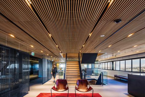 Screenwood's modular linear timber system used at Asciano, Sydney.
