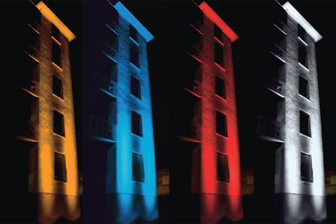 High-intensity beams enable Band Intensive luminaires to create dramatic facade-lighting effects.