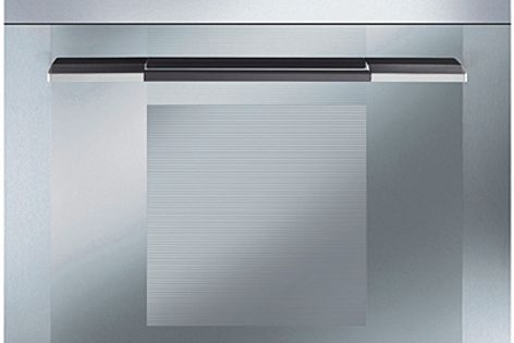 """The Linear collection features """"supersilver"""" glass with integrated stainless steel fascia."""