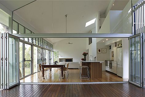 Heavy overhead supports can be replaced with a more streamlined door frame.