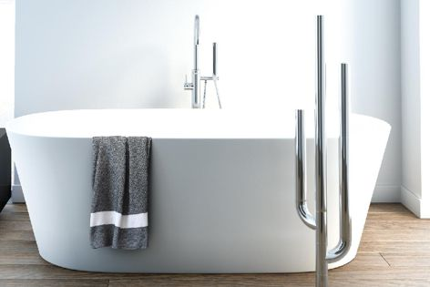 The DCS Cactus freestanding floor-mounted heated towel rail is available in a selection of finishes.