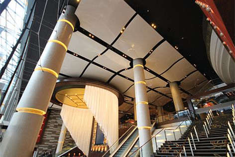The western entrance of Star City casino in Sydney uses Barrisol panels.