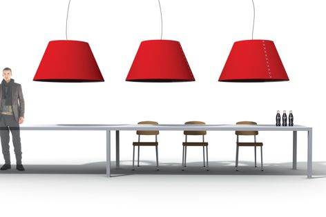 Simultaneously providing light and privacy, the BuzziShade lamp is ideal for open offices and hospitality venues.