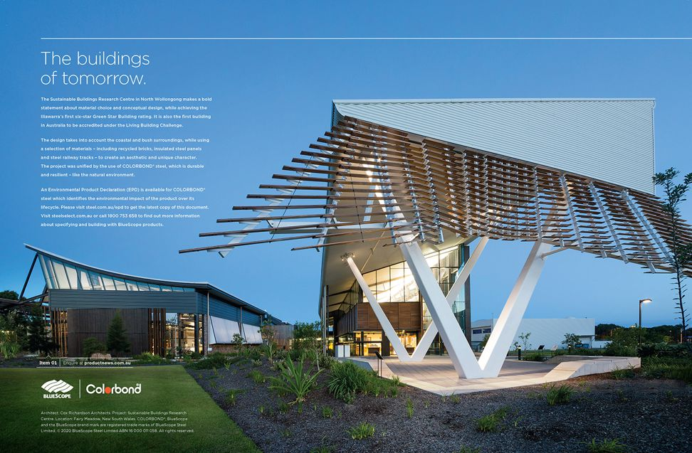 Architect: Cox Richardson Architects. Project: Sustainable Buildings Research Centre. Location: Fairy Meadow, New South Wales.