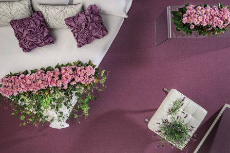 Garden carpet, pictured in Lavender, is made of pure New Zealand wool.