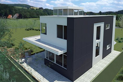 Realistic 3D house designs can be created using James Hardie's Accel Design tool and Revit content.