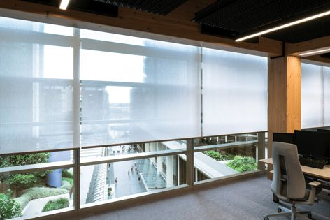 Designed by Tzannes, International House in Barangaroo features Sea-Tex roller solar shade fabric in 'White.' Photography: Richard Glover.