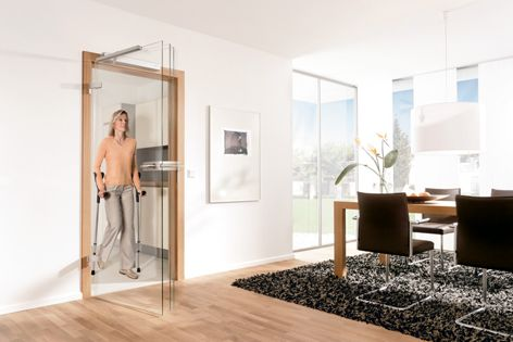 People with limited mobility will benefit from the DORMA Porteo swing-door operator.