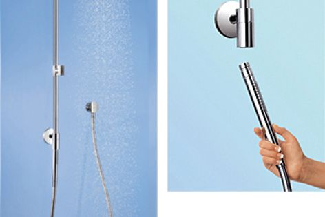 The hand shower plugs into the Rain Connector to activate the overhead shower.