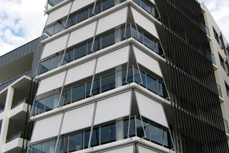 Markilux sun control protects this apartment on Newcastle Harbour from the sun and prevailing winds.