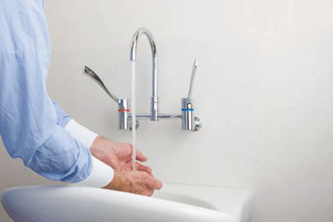 The long handles of the Leva range help reduce hand cross contamination in healthcare facilities.
