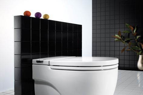 The In-Tank toilet system incorporates the cistern inside the toilet, saving space.