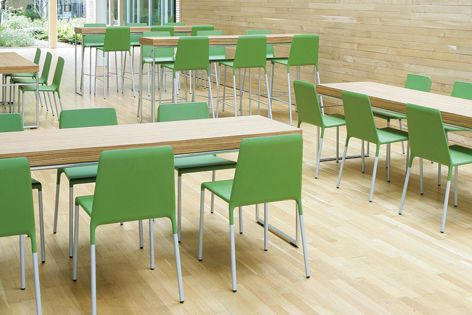 Stackable Kojak chairs are a comfortable solution for cafes, schools and commercial spaces.