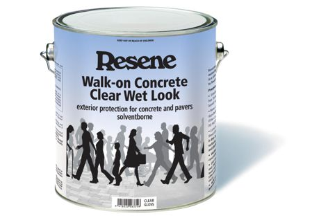"Resene Walk-on Concrete Clear is based on tough waterborne resins to give maximum abrasion resistance and a ""wet look."""