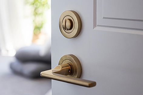 Windsor Architectural Hardware's Italian solid brass door hardware suits a wide variety of residential aesthetics.