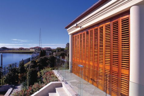 These shutters are made from sustainably harvested western red cedar.