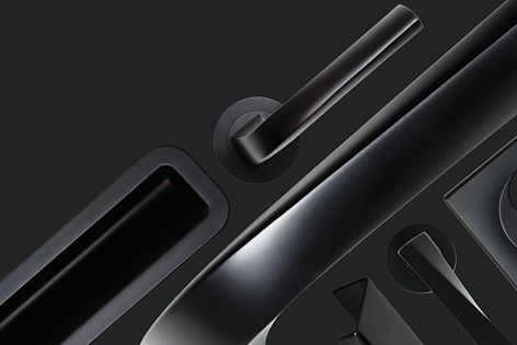 The sophisticated Art H361 door handle, designed by Antonio Citterio and Toan Nguyen, is part of the Black Opaque range from Pittella.