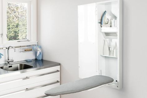 The ironing board folds away, is height adjustable, and can be rotated up to 90° to suit your preferred ironing position.