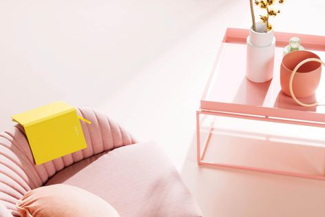 Cohabitate features colours such as peach, minty green, fresh lemon and duck egg blue.