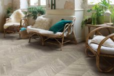 Chevron timber floor with easy-click installation by Quick-Step