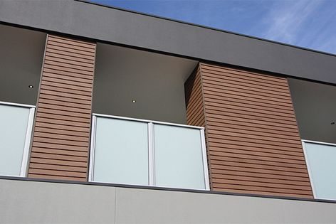 Pictured is the EnviroSlat chocolate 70 mm × 15 mm profile.