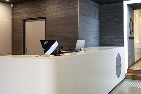Stonini panels from Di Emme were used on the reception of this fitness studio in Sydney.