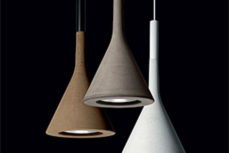 The Aplomb suspension light is made from concrete and is available in three colour finishes.