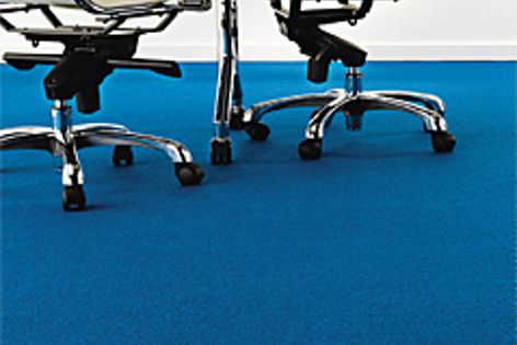 The Azure Blue colour, shown here, is part of the new Studio Blues range of carpets.