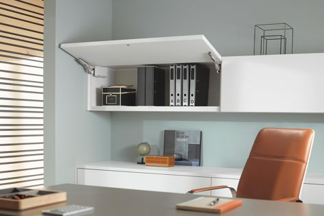Clear office space by adding extra overhead storage.