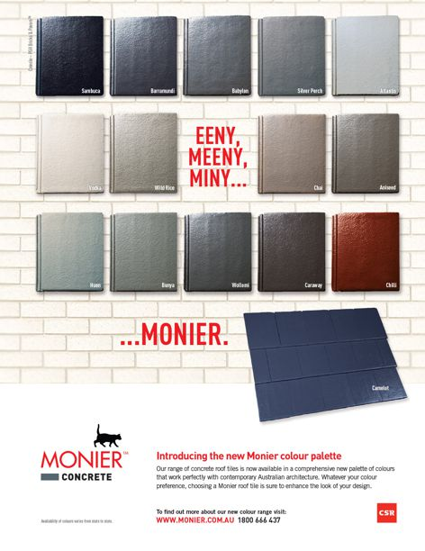 Monier Roofing concrete colour palette from CSR