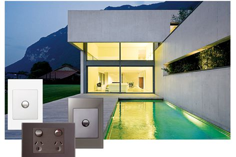Hagerblu Cyberart light switches complement the clean lines of modern architecture.