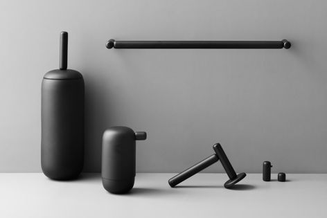 D Line's Pebble bathroom collection is defined by elliptical shapes and tactile materials.