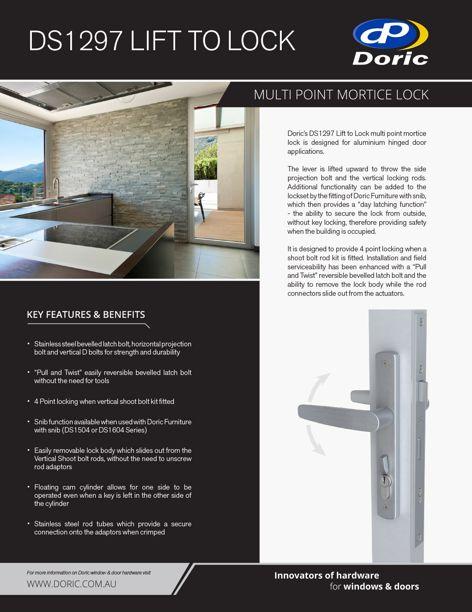 DS1297 Lift to Lock door lock from Doric